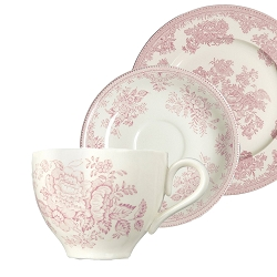Pink Asiatic Pheasant Cup  and  Saucer and Plate 3 pc Boxed Set.