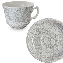 Dove Grey Calico Teacup and Saucer- 10 available