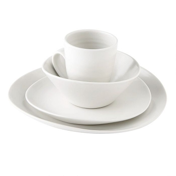 Simon Pearce Barre 4 Piece Place Setting w/ Cereal bowl Alabaster