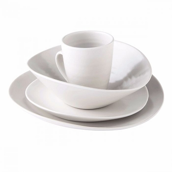 Simon Pearce  Barre 4 Piece Place Setting w/Pasta Bowl Alabaster