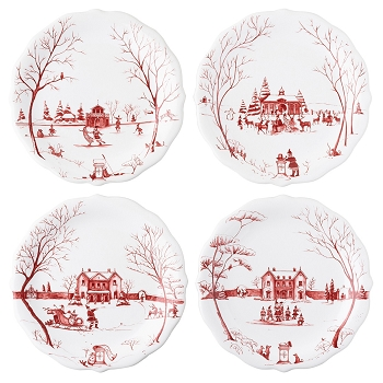 Country Estate Winter Frolic Mr & Mrs Claus Party Plate set/4