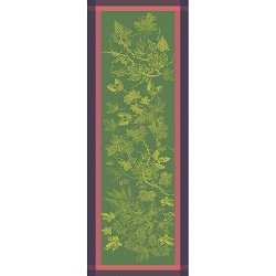 Plaisirs D Automne Muscat, Table Runner 100% Cotton, Green Sweet