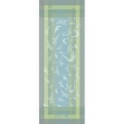 Envolee Brume Table Runner  22X59, 100% Cotton, Green Sweet
