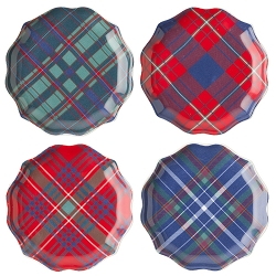 Traditional Tartan Tidbit Plates Set/4