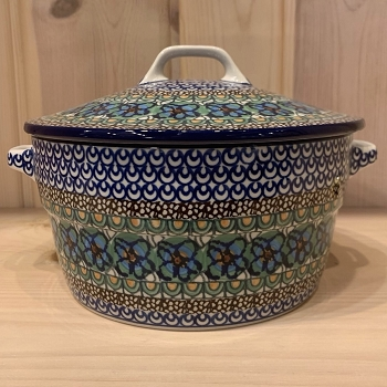 Polish Pottery Covered Baker 8in