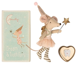Tooth Fairy Girl Mouse in Metal Box -new