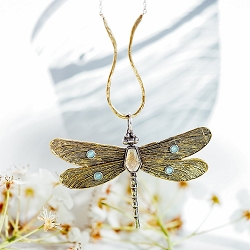 Transformative Dragonfly Gestural Hasp Necklace