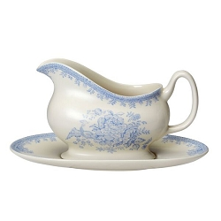Blue Asiatic Pheasant Gravy Boat and Stand