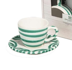 Dizzy Green Espresso Cup and Saucer