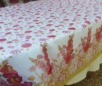 Fleur Sauvage Red French Tablecloth 71