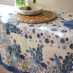 Fleur Sauvage Blue French Tablecloth