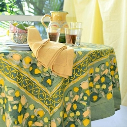 Fruit Yellow & Green French Tablecloth