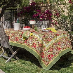 Jardin Red & Green French Tablecloth