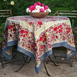 Jardin Red & Grey French Tablecloth