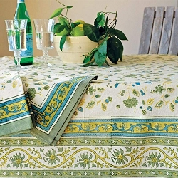 Joy Green & Blue French Tablecloth