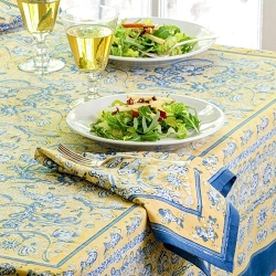 La Mer Blue & Yellow French Tablecloth