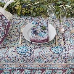 Malini Brown & Blue French Tablecloth