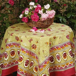 Pansy Red & Green French Tablecloth