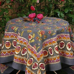 Pansy Red & Grey French Tablecloth