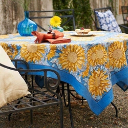 Sunflower Yellow & Blue French Tablecloth