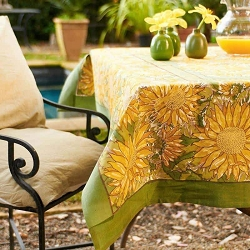 Sunflower Yellow & Green French Tablecloth