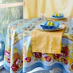 Tutti Frutti Blue & Red French Tablecloth