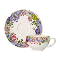 Gien Millefleurs Breakfast Cup and Saucer- 4 available - more available in 6-8 weeks