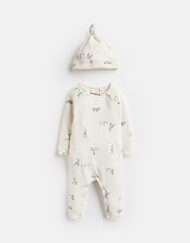 Joules GIGGLE OFFICIAL PETER RABBIT™ COLLECTION SUPERSOFT BABYGROW AND HAT SET