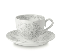 Dove Grey Asiatic Pheasant Tea Cup and Saucer