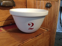 Natural White Mixing Bowl  #2 - Red Numbers Retired