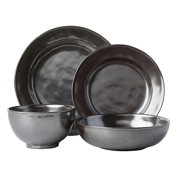 Pewter Stoneware 4 Piece Place Setting