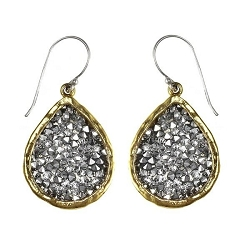 Kristal Teardrop Earrings - Brass