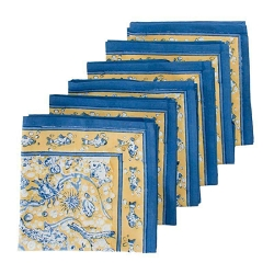 La Mer Napkins Blue & Yellow, Set of 6 Backordered