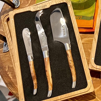 Laguiole Juniper Cheese Knife Set/3- Wood Boxed