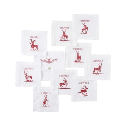 Country Estate Reindeer Games Cocktail Coasters Set/9 Reindeer with Pouch