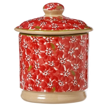 Red Lawn Lidded Sugar Pot