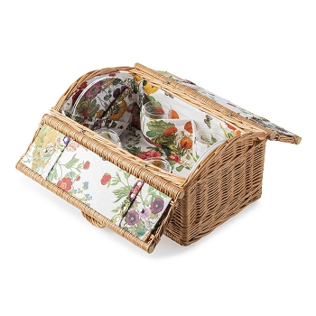 Picnic Basket Set with Field of Flowers Melamine and Isabella Acrylic Tumblers