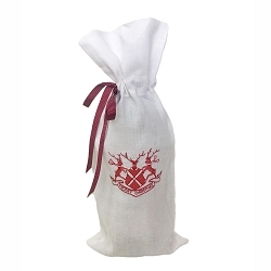 NEW-Country Estate Reindeer Games Merry Christmas Ruby Wine Bag