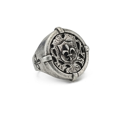 French Kande Silver Signet Ring Fleur