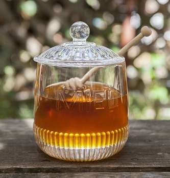 Depression Glass Miel Honey Jar