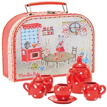 Moulin Roty Red Ceramic Tea Set