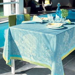 Corail Lagon Tablecloth, 100% Cotton, Green Sweet