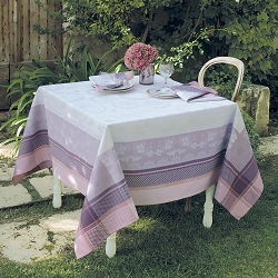Faience Mauve Tablecloth, 100% Cotton, Green Sweet