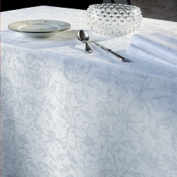 Mille Charmes Blanc Tablecloths, 100% Cotton