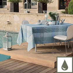 Mille Tiles Bleu Lagoon Coated Tablecloth  100% Cotton , Coated