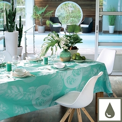 Mille Verdoyant Turquoise Tablecloth , 100% Cotton & Coated Cotton