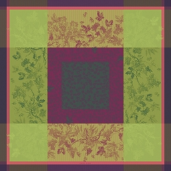 Plaisirs D Automne Muscat Tablecloth , 100% Cotton, Green Sweet