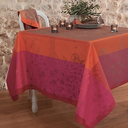 Poetree Fuchsia Green Sweet Stain-Resistant Cotton Tablecloth 69