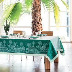 Serres Royales (Royal Greenhouse) Vert Tablecloth 100% Cotton, Green Sweet