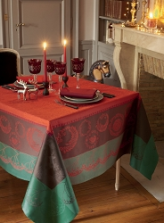 Christmas Forest Red Tablecloth , 100% Cotton, Green Sweet